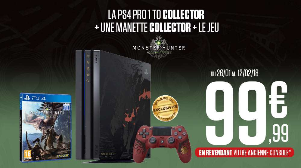 console sony ps4 pro collector rathalos edition monster. Black Bedroom Furniture Sets. Home Design Ideas