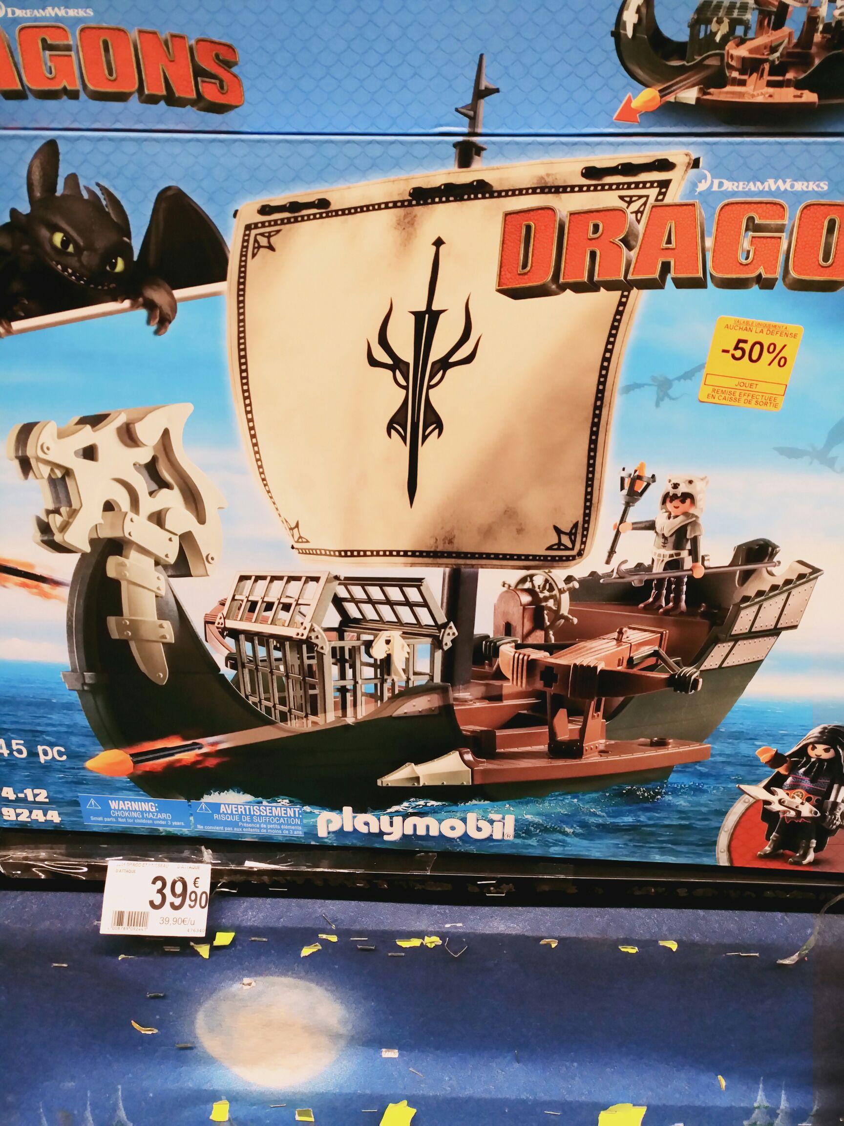 jouet playmobil drago et vaisseau d 39 attaque 9244 au auchan la d fense puteaux 92. Black Bedroom Furniture Sets. Home Design Ideas