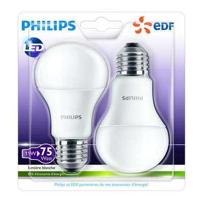 lot de 2 ampoules led philips edf e27 11 w. Black Bedroom Furniture Sets. Home Design Ideas