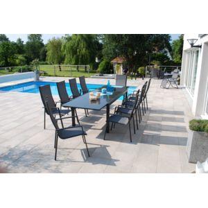 Ensemble table de jardin extensible aluminium et verre for Table extensible 3m