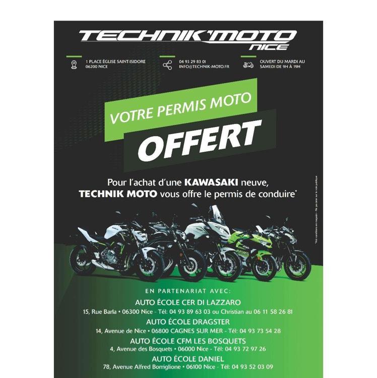pour tout achat d une moto kawasaki neuve un permis moto offert technik moto nice 06. Black Bedroom Furniture Sets. Home Design Ideas