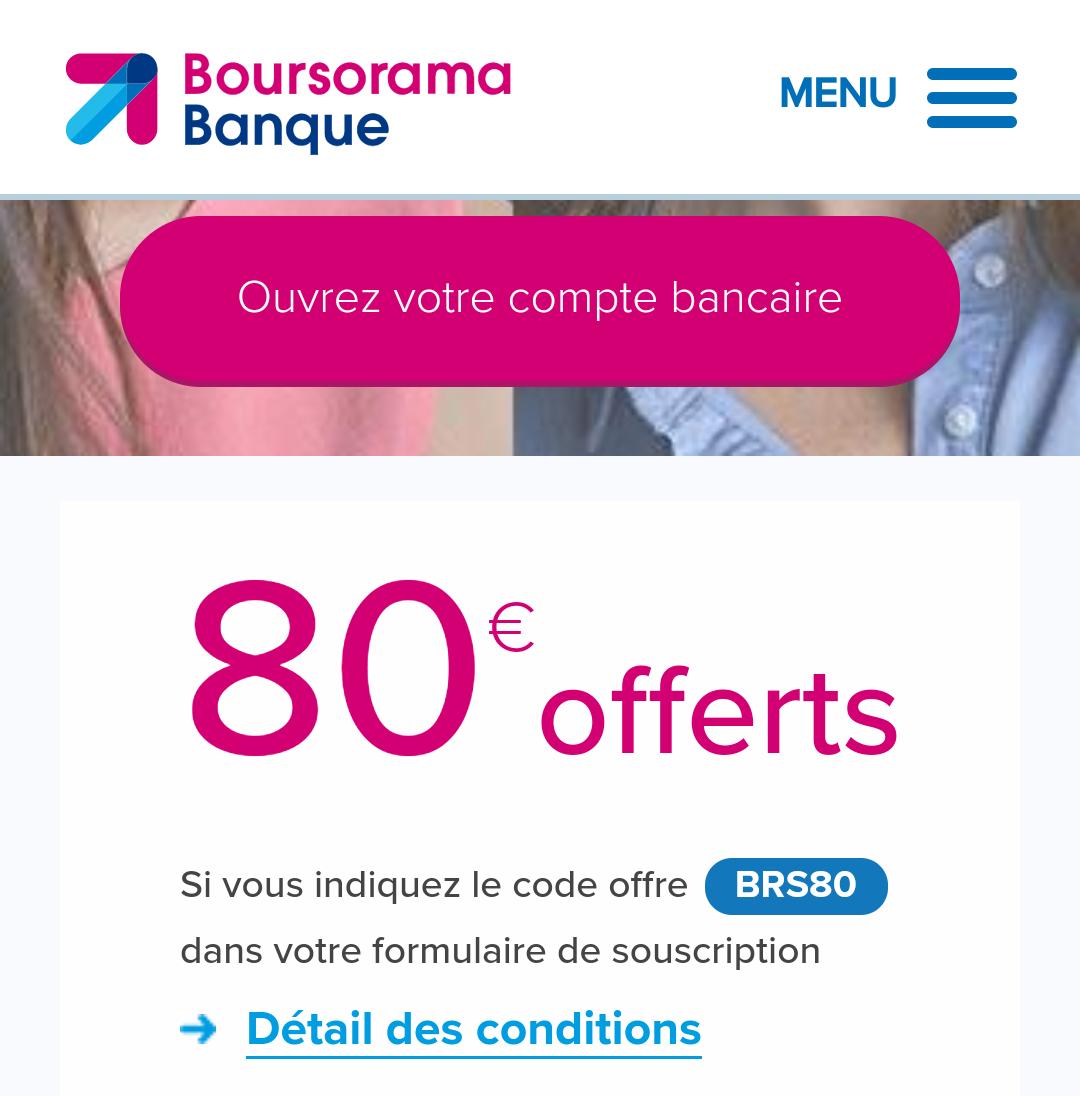 80 euros offerts l 39 ouverture d 39 un compte bancaire boursorama 70 offerts en cas de carte de. Black Bedroom Furniture Sets. Home Design Ideas