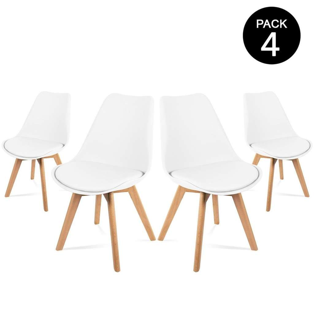 lot de 4 chaises avec assise rembourr e et pieds en bois style scandinave blanc. Black Bedroom Furniture Sets. Home Design Ideas