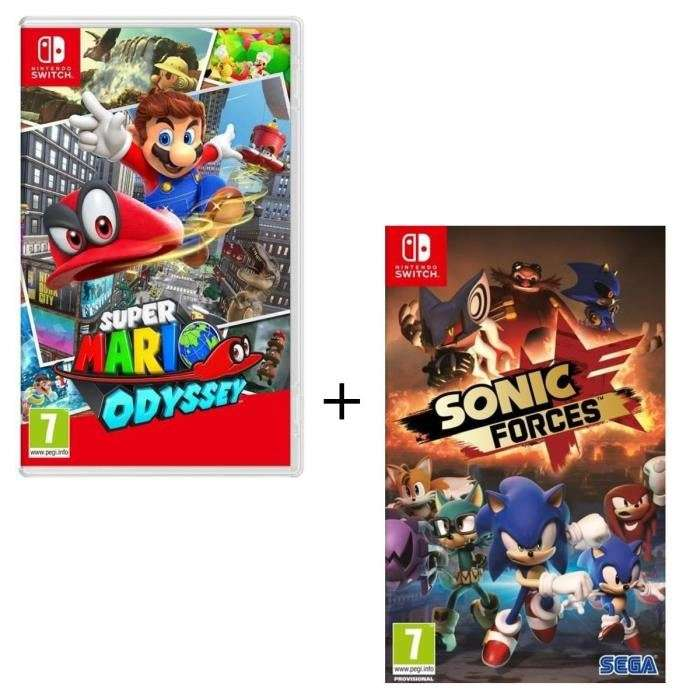 pack de 2 jeux nintendo switch super mario odyssey sonic forces. Black Bedroom Furniture Sets. Home Design Ideas
