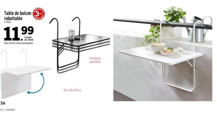 table de balcon rabattable 60x40cm