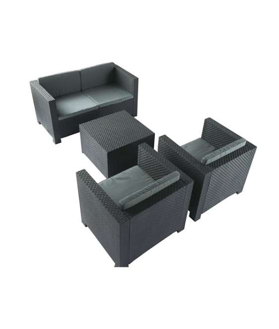 salon de jardin diva 1 canap 2 places 2 fauteuils 1 table basse. Black Bedroom Furniture Sets. Home Design Ideas