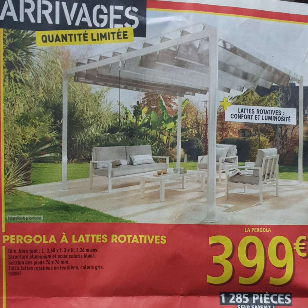 pergola bioclimatique en aluminium et acier avec lattes rotatives x 3 x. Black Bedroom Furniture Sets. Home Design Ideas