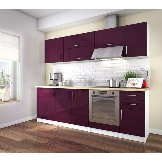cdiscount volont cuisine compl te corry aubergine laqu brillant avec fermeture soft close. Black Bedroom Furniture Sets. Home Design Ideas