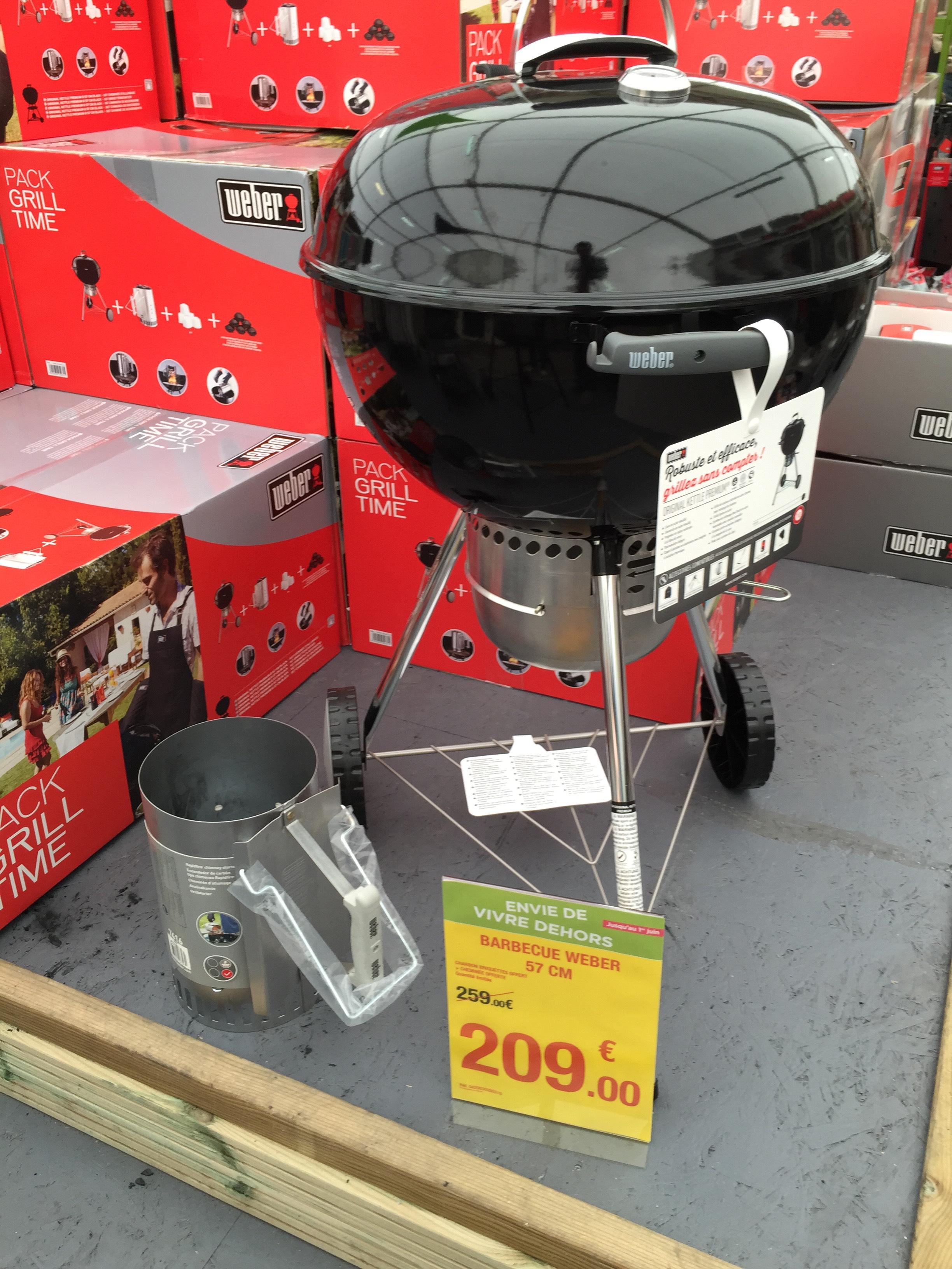 barbecue weber kettle premium 57 cm chemin e et b chettes. Black Bedroom Furniture Sets. Home Design Ideas
