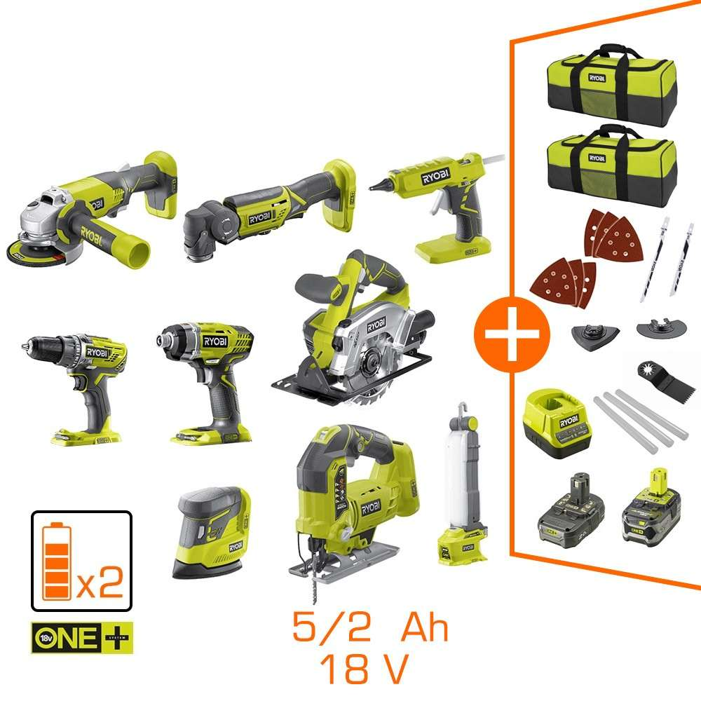 Pack De 9 Machines Ryobi 2 Batteries Li Ion 5ah 2ah 2
