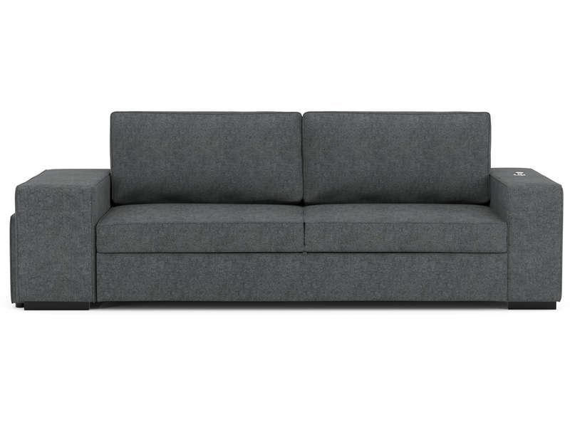 canap droit convertible karl 3 places 2 poufs gris. Black Bedroom Furniture Sets. Home Design Ideas