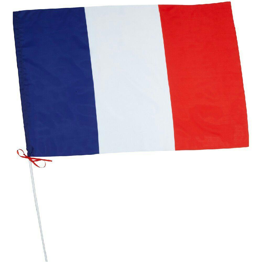 drapeau france avec hampe en plastique dim 60x90 cm. Black Bedroom Furniture Sets. Home Design Ideas