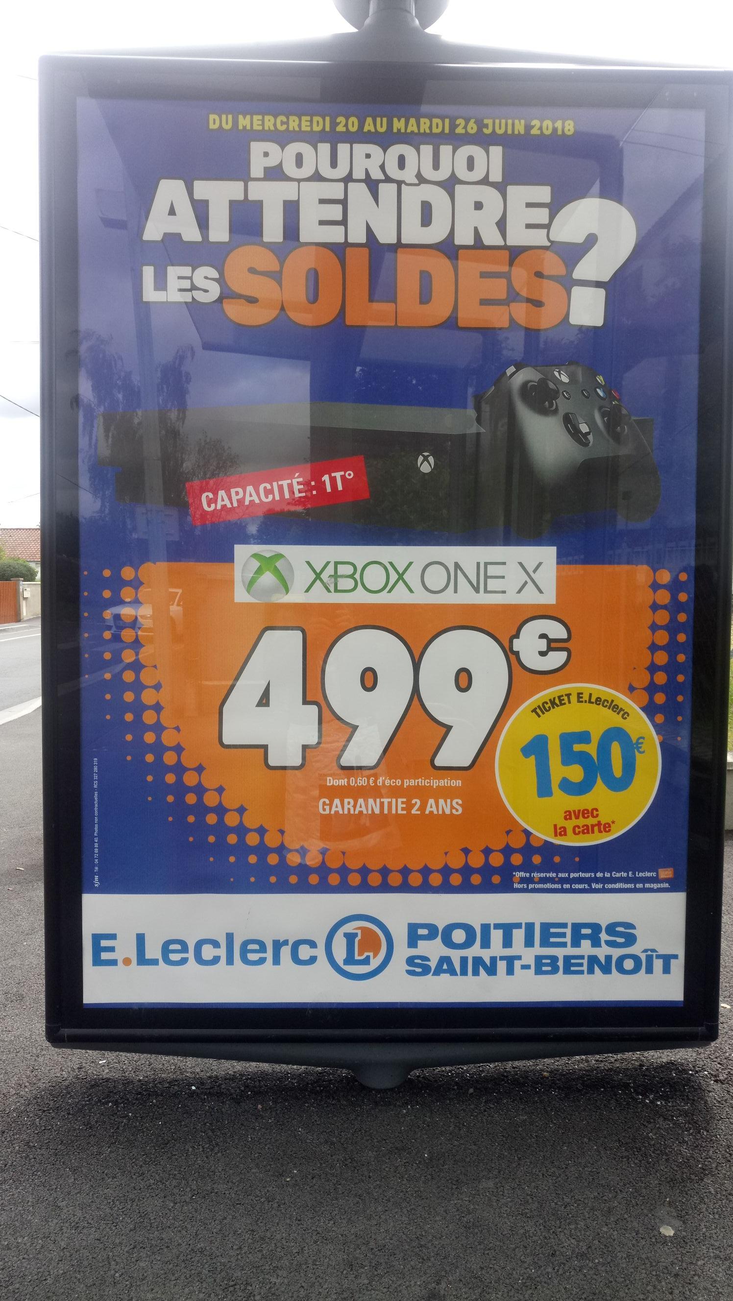 Console microsoft xbox one x 1 to via 150 en tickets e for Leclerc poitiers