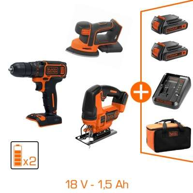 Pack 3 machines sans fil black et decker 18v perceuse percussion scie sauteuse ponceuse - Perceuse black et decker 18v ...