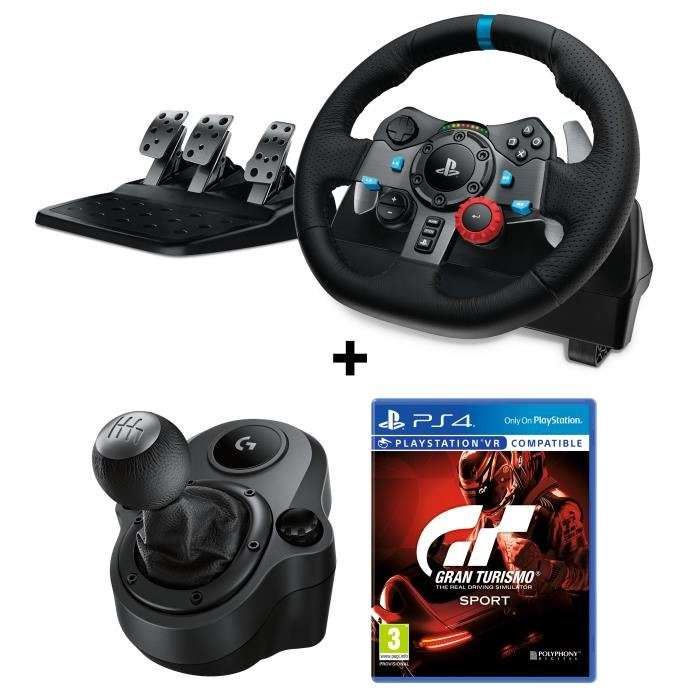 pack volant de course logitech g29 p dalier levier de vitesse driving force shifter pour pc. Black Bedroom Furniture Sets. Home Design Ideas