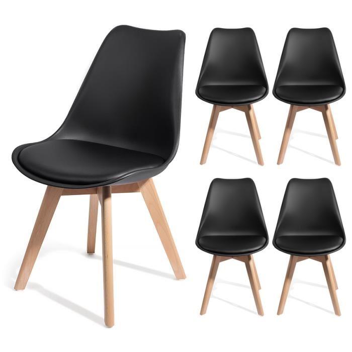 lot de 4 chaises brekka au design contemporain scandinave avec coussin noir. Black Bedroom Furniture Sets. Home Design Ideas