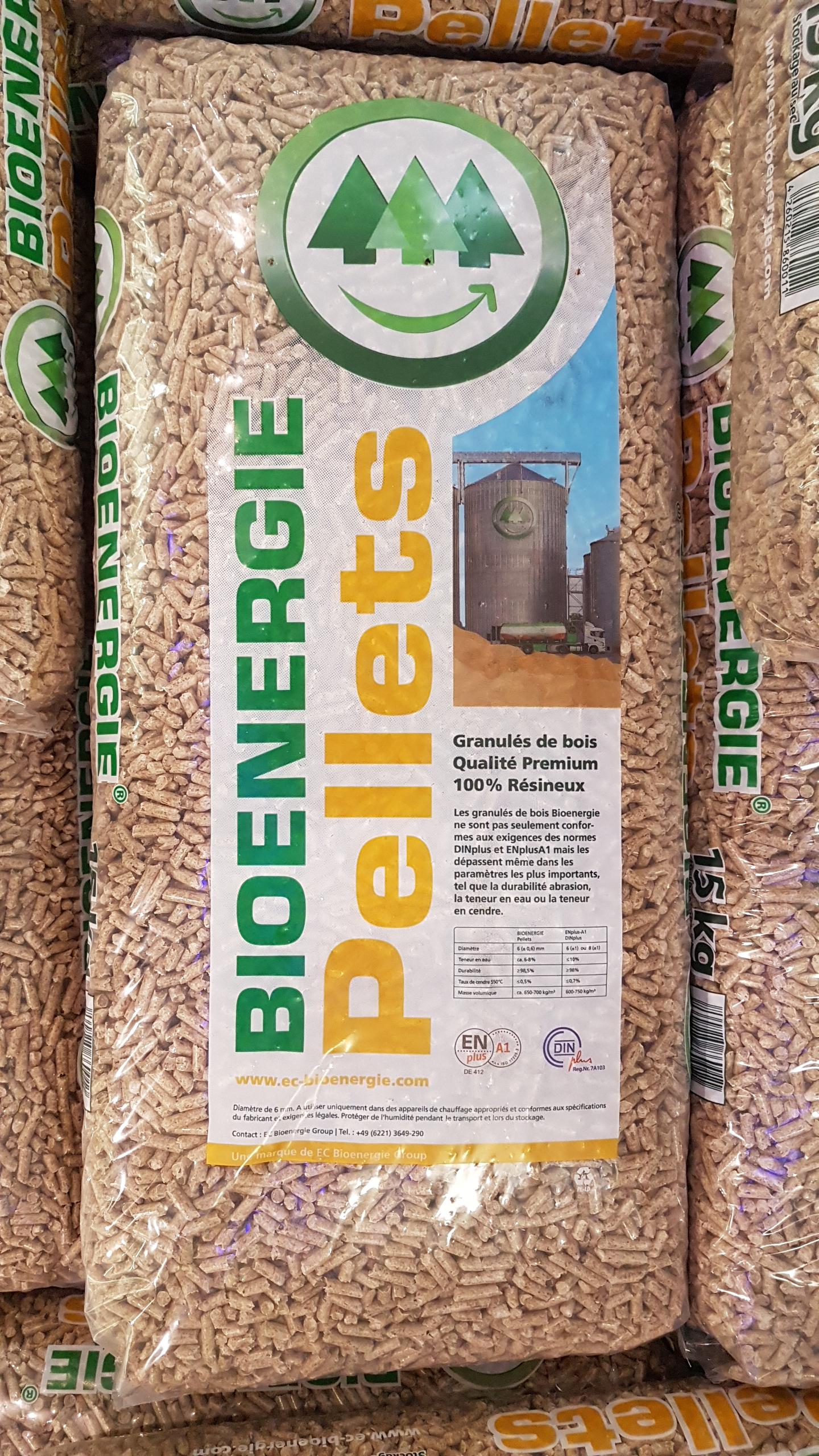 Pellets Biioenergie Sac Seul De 15kg à 388 Ou Palette De