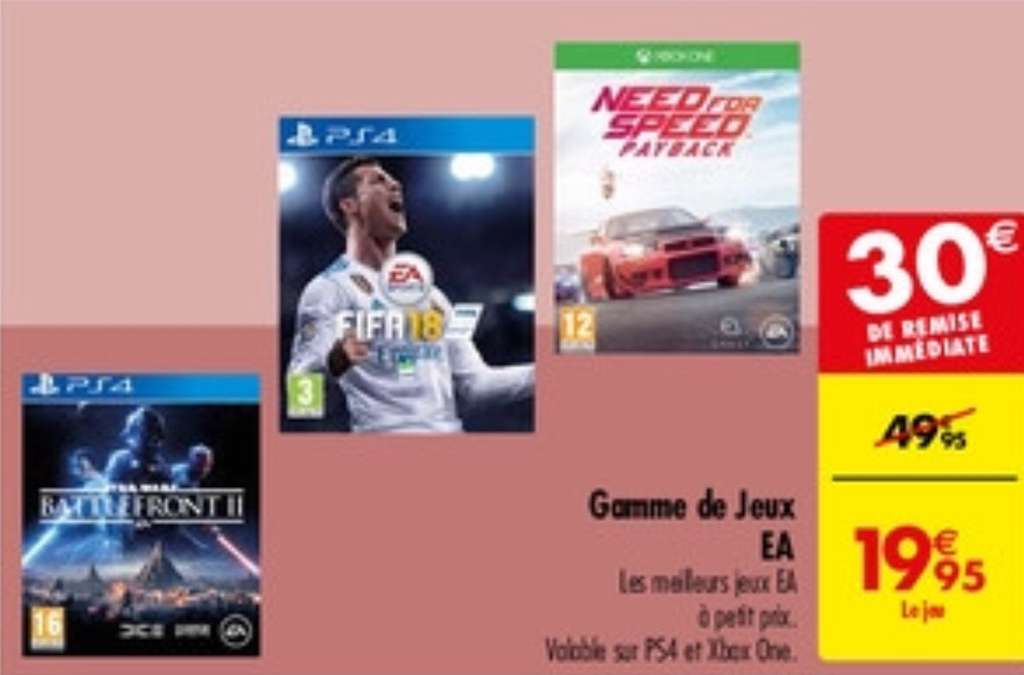 jeu need for speed payback starwars battlefront 2 ou fifa 18 sur ps4 ou xbox one. Black Bedroom Furniture Sets. Home Design Ideas