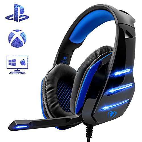 micro casque gaming pour ps4 pc ou xbox one led bleues vendeur tiers. Black Bedroom Furniture Sets. Home Design Ideas