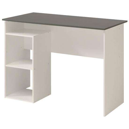 bureau contemporain blanc et gris mat 101cm. Black Bedroom Furniture Sets. Home Design Ideas