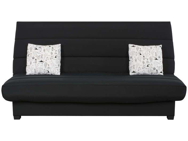 banquette clic clac dunlopillo cactus 2 coussins noir. Black Bedroom Furniture Sets. Home Design Ideas