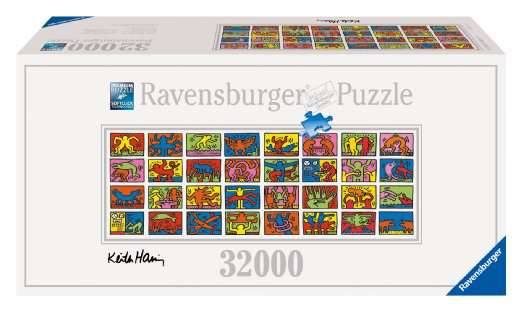 puzzle ravensburger keith haring 32 000 pi ces le plus grand du monde. Black Bedroom Furniture Sets. Home Design Ideas