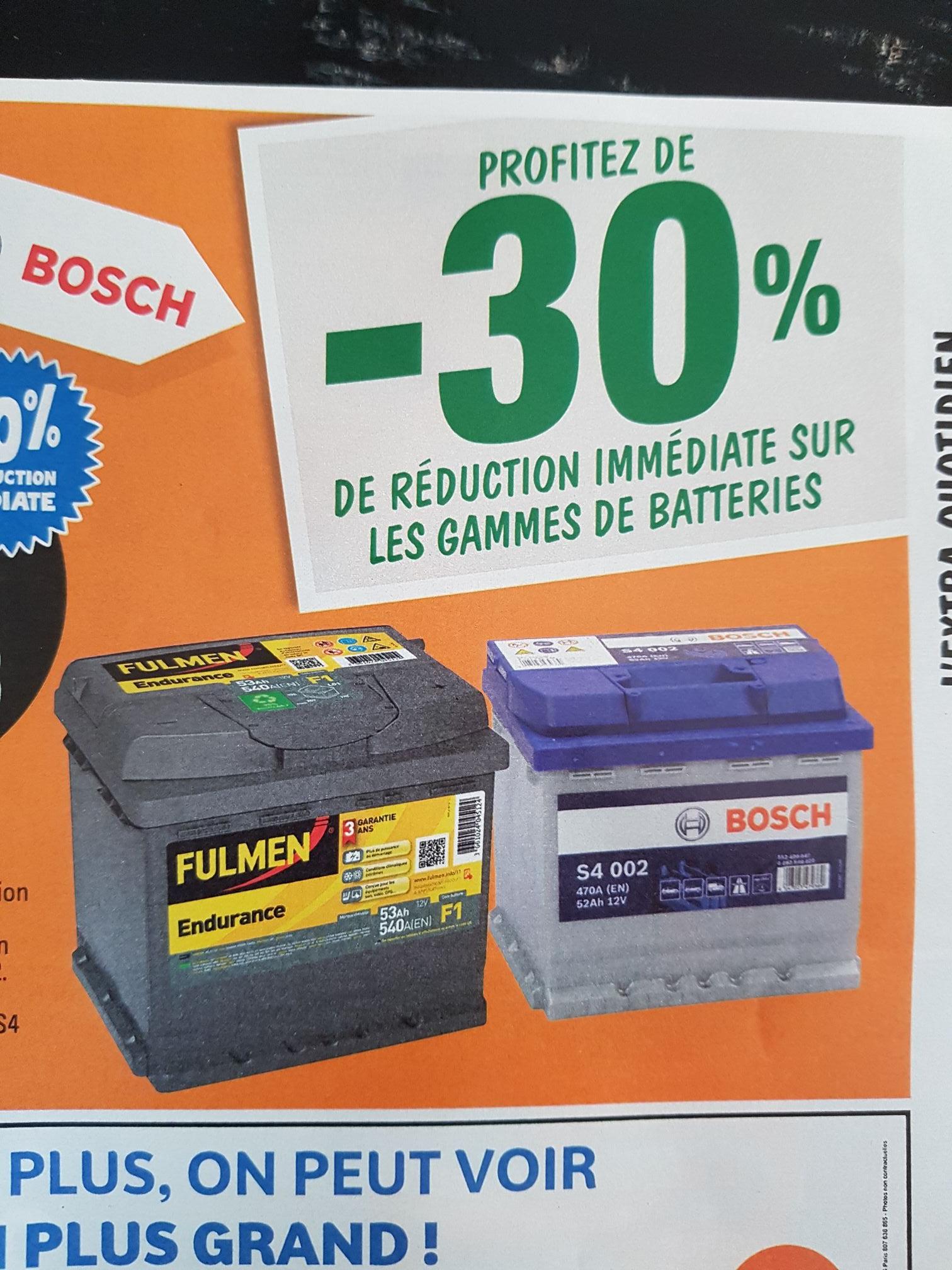 30 de r duction sur les batteries auto des gammes bosch s4 ou fulmen endurance. Black Bedroom Furniture Sets. Home Design Ideas