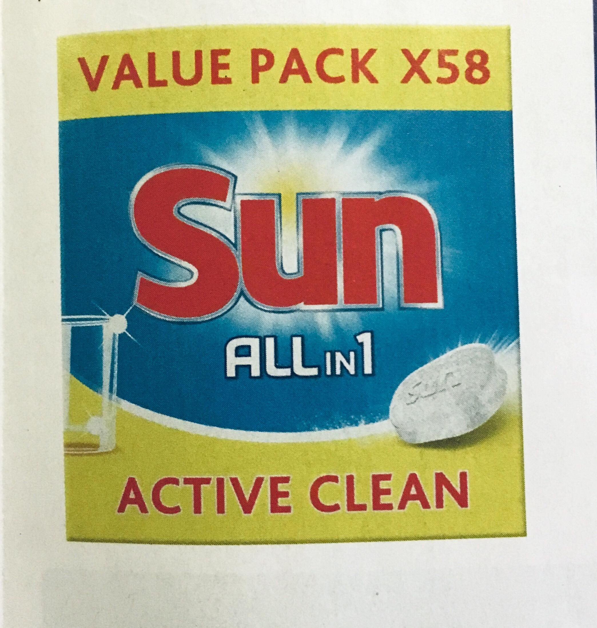 paquet de 58 tablettes lave vaisselle sun active clean. Black Bedroom Furniture Sets. Home Design Ideas