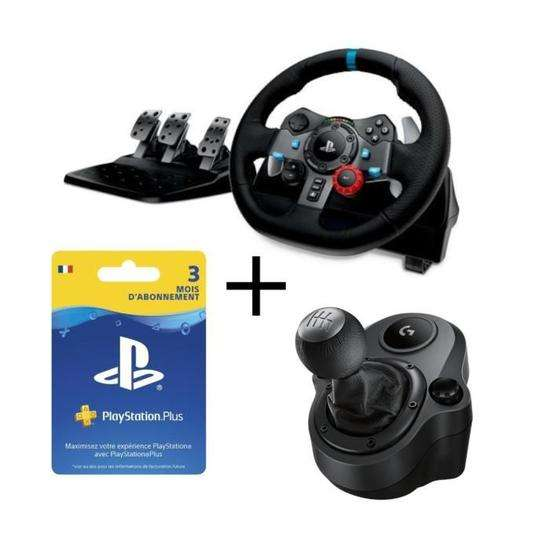 pack logitech volant g29 pour pc et ps4 shifter abonnement playstation plus 3 mois. Black Bedroom Furniture Sets. Home Design Ideas