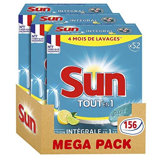 sun tablettes lave vaisselle tout en 1 citron 156 lavages lot de 3x52 lavages. Black Bedroom Furniture Sets. Home Design Ideas