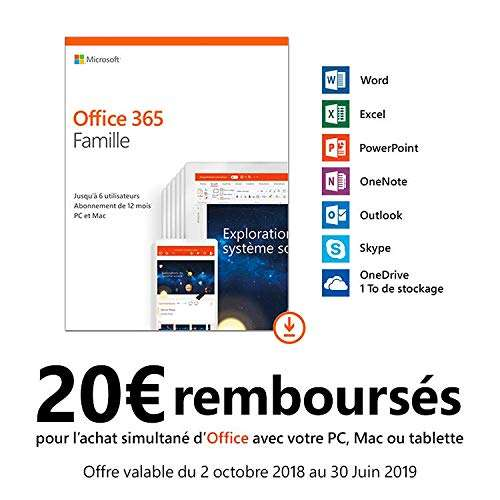 licence microsoft office 365 famille jusqu 6 utilisateurs 1 an d mat rialis. Black Bedroom Furniture Sets. Home Design Ideas