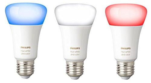 lot de 3 ampoules connect es philips hue white and color compatible alexa e27. Black Bedroom Furniture Sets. Home Design Ideas