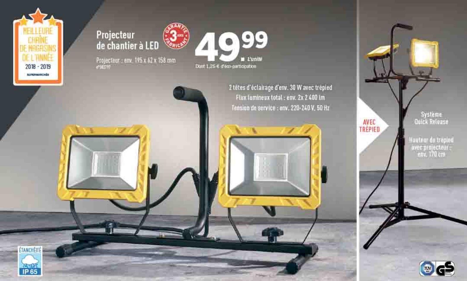 projecteur de chantier double led 30 w. Black Bedroom Furniture Sets. Home Design Ideas