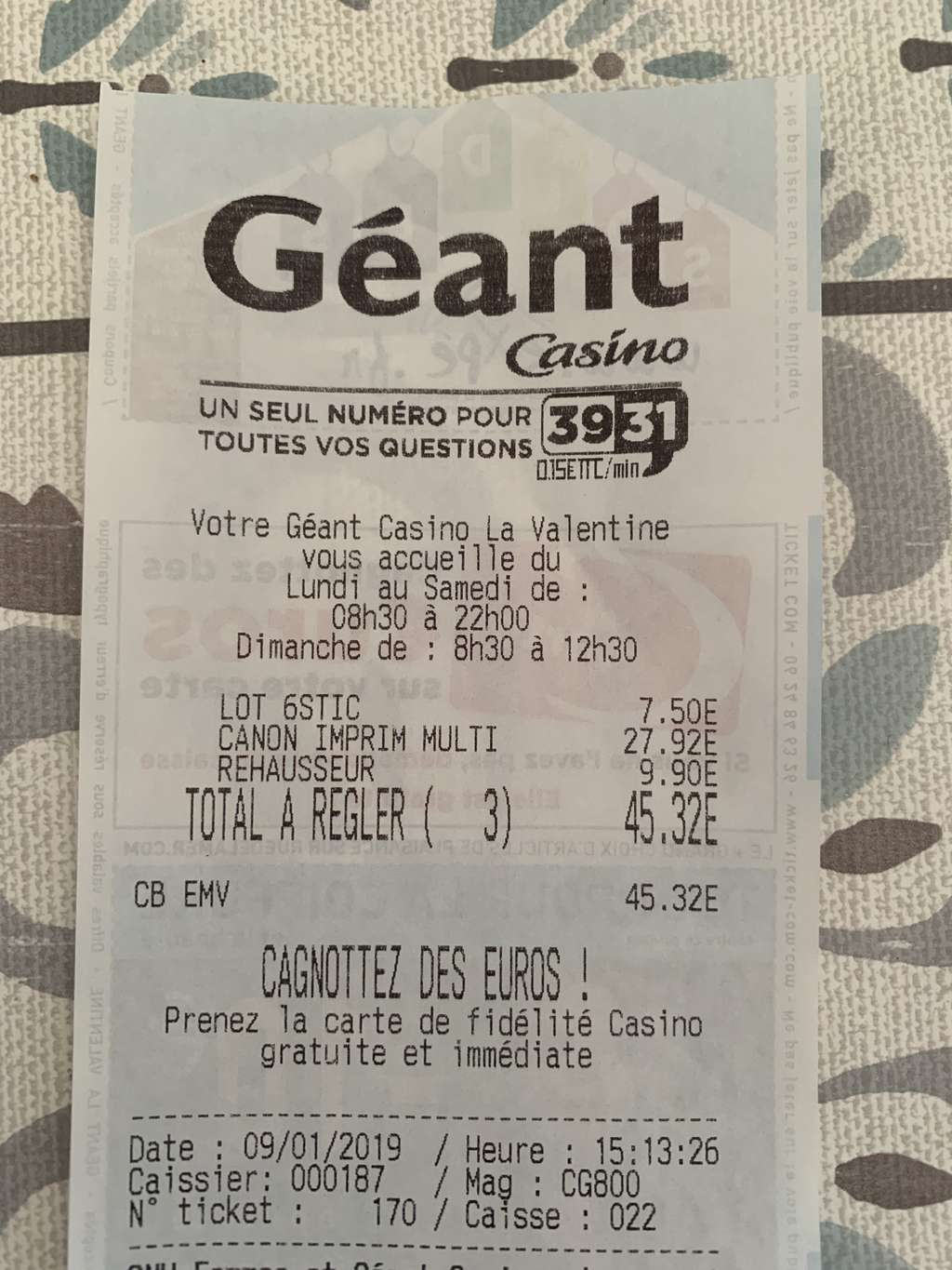 Geant Casino La Valentine Cartouche Dencre