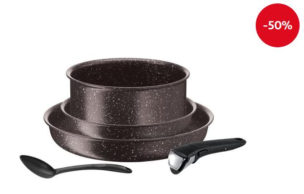 batterie de cuisine tefal ingenio extreme 5 pi ces induction marron effet pierre. Black Bedroom Furniture Sets. Home Design Ideas