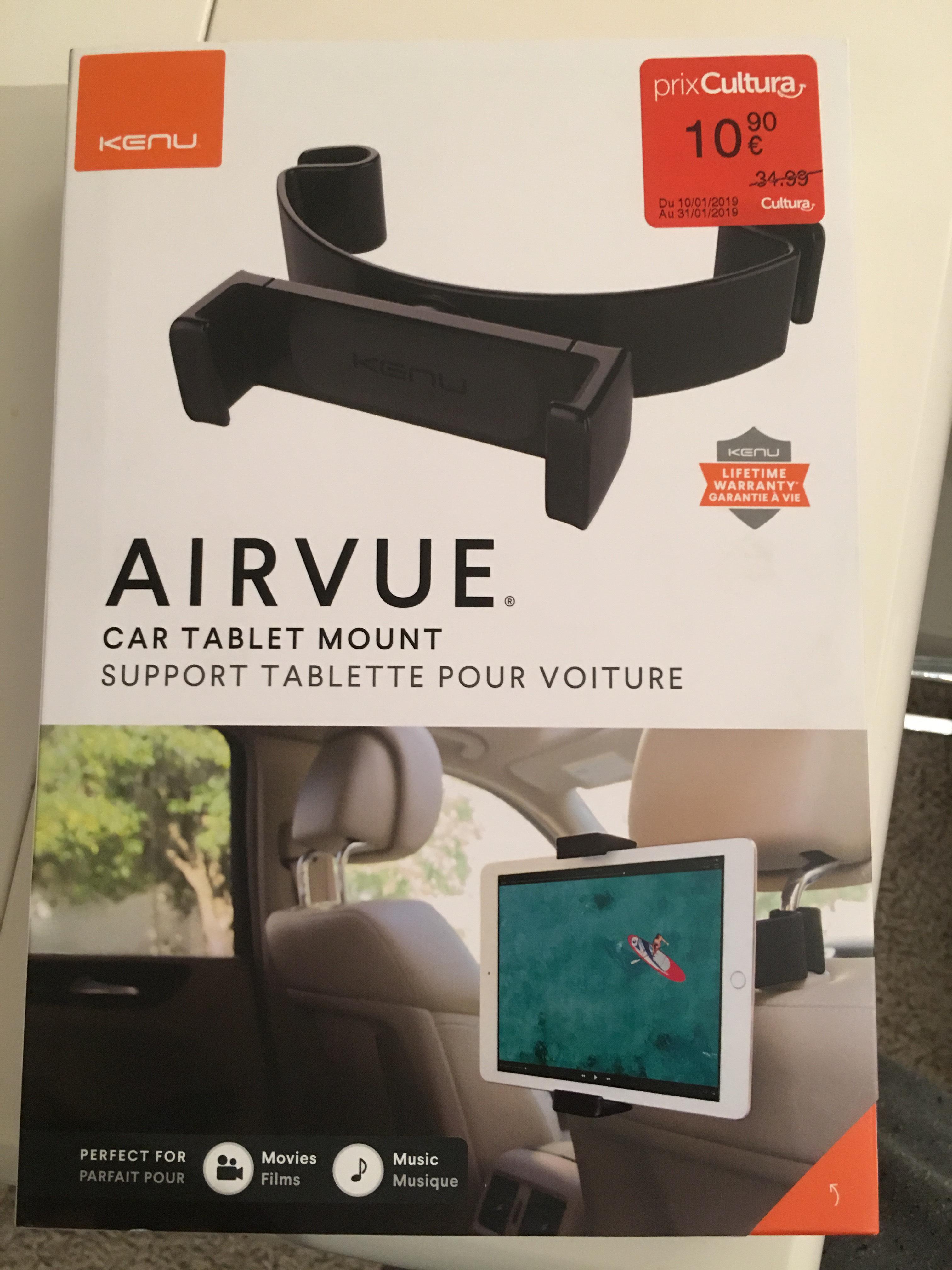 support pour tablette voiture kune airvue. Black Bedroom Furniture Sets. Home Design Ideas