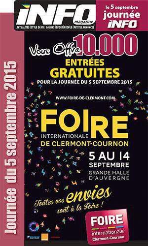 2 places gratuites pour la foire internationale de for Foire internationale de clermont cournon