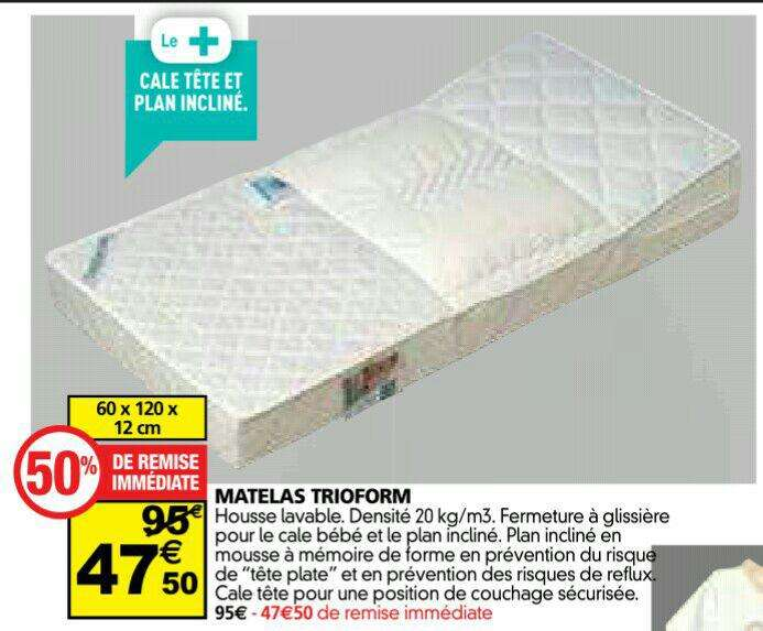 matelas b b trioform avec cale t te et plan inclin. Black Bedroom Furniture Sets. Home Design Ideas