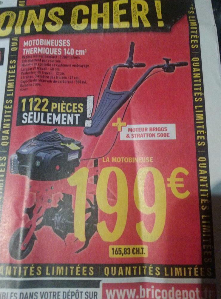 Motobineuse thermique 140cm3 - Tariere thermique brico depot ...