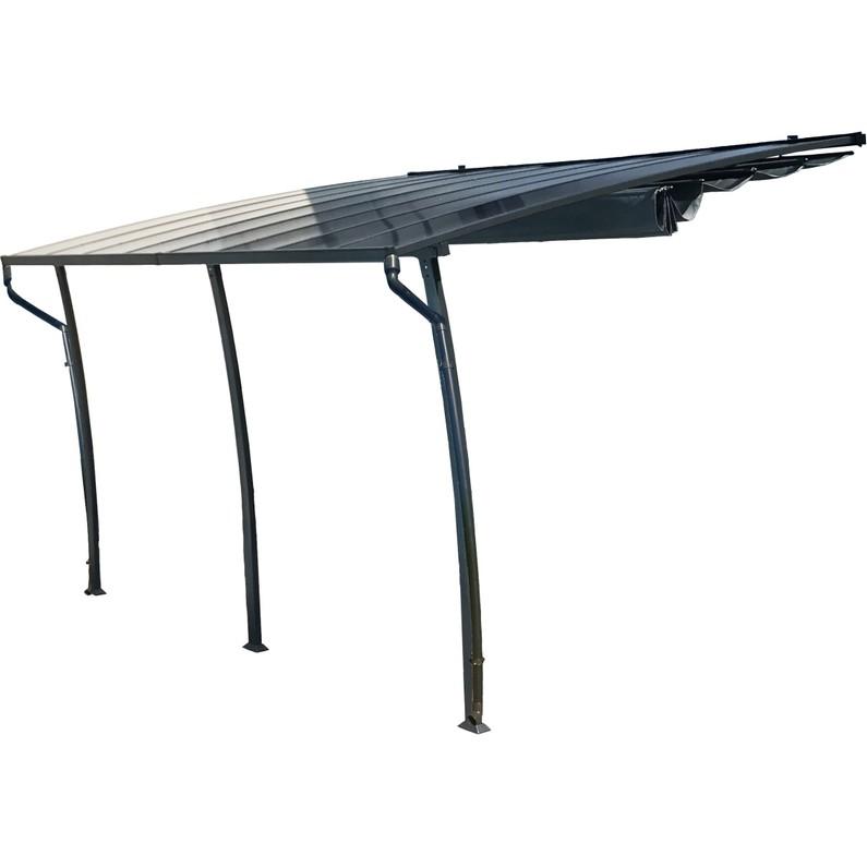Tonnelle Adossée Helsinki Aluminium Gris Anthracite 14 M²
