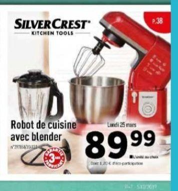 Robot De Cuisine Avec Blender 2 Couleurs Au Choix