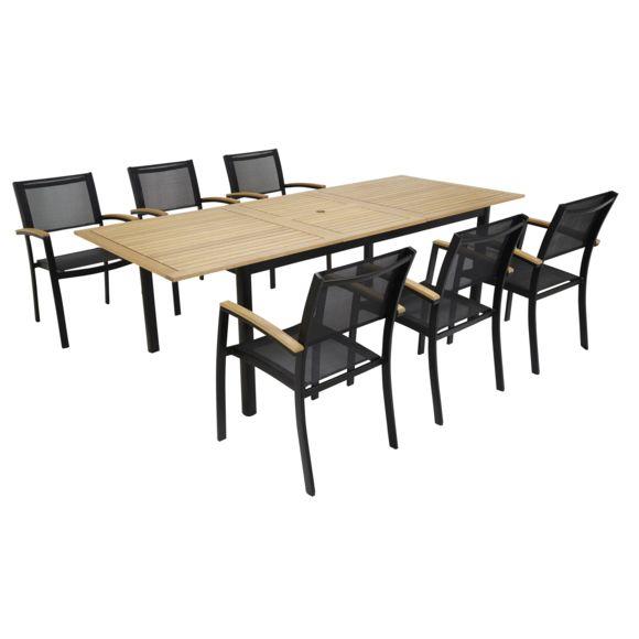 Table de jardin aluminium eucalyptus Louga et 6 chaises ...