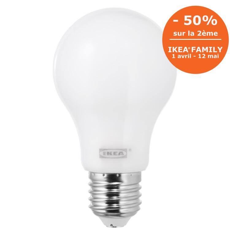 ikea family ampoule led ledare e27 600 lumen. Black Bedroom Furniture Sets. Home Design Ideas