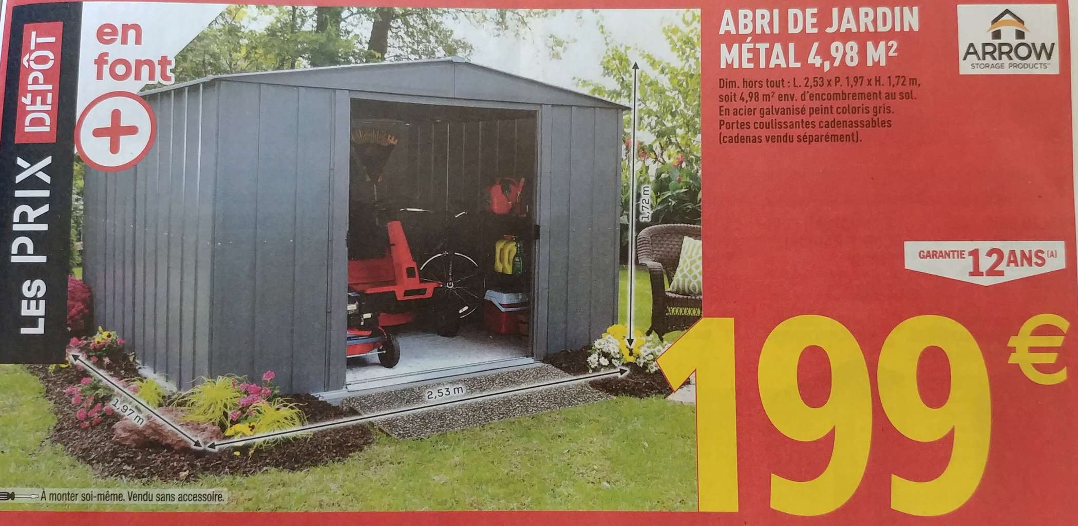 Abri De Jardin Metal Arrow 4 98m 2 53 X 1 97 M Dealabs Com