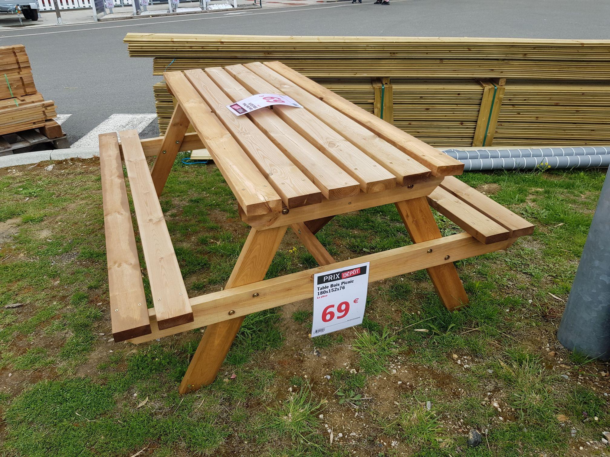 Table de picnic bois - 6 personnes, Brico dépôt des essarts le roi ...