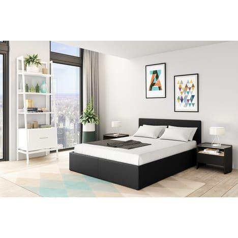 lit coffre willow avec t te de lit sommier 140x190cm. Black Bedroom Furniture Sets. Home Design Ideas