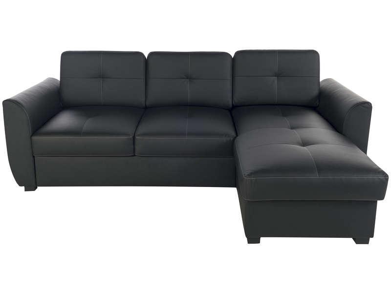 canap d 39 angle convertible kalkk noir. Black Bedroom Furniture Sets. Home Design Ideas