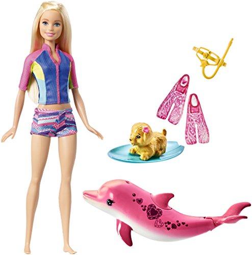 Poup e barbie et son dauphin magique fbd63 avec figurines de chien dauphin sonore - Barbie et son chien ...