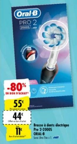 Brosse à Dent Electrique Oral B Pro 2 2000S (via 44€ en ...