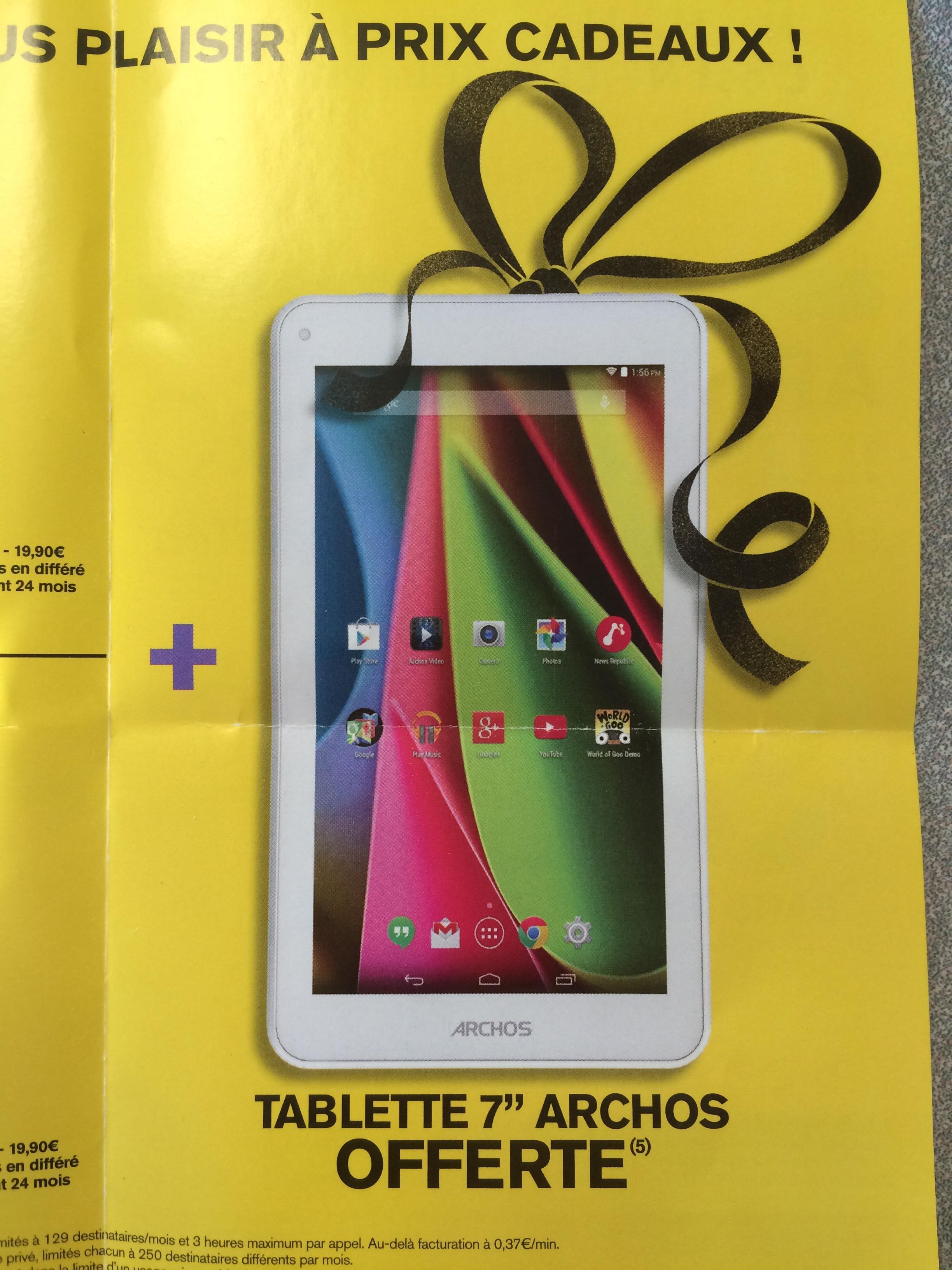 tablette archos 7 offerte pour souscription d 39 un forfait 500mo ou 2go par mois pendant. Black Bedroom Furniture Sets. Home Design Ideas